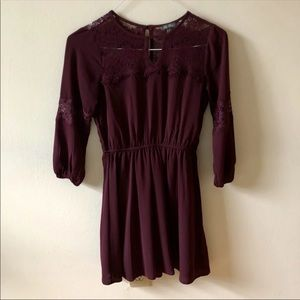 ✨2/$20✨ Lily Rose Maroon Lace Long Sleeve Dress